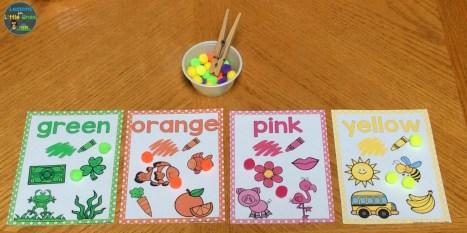 color sorting posters pom poms 2