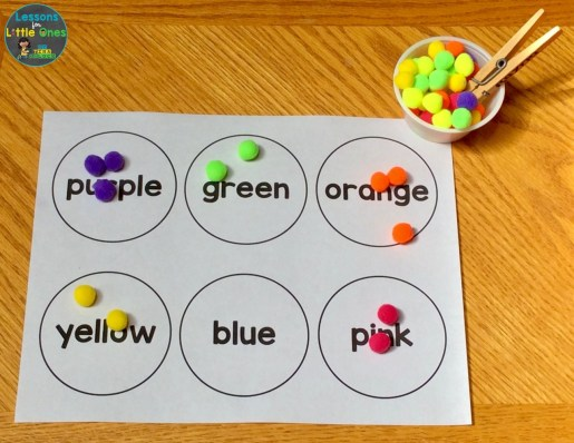 color words sorting activity