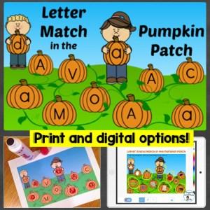 Alphabet Letter Match in the Pumpkin Patch print