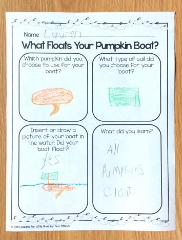 pumpkin boats STEM challenge page