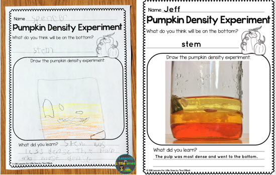 pumpkin density science experiment pages