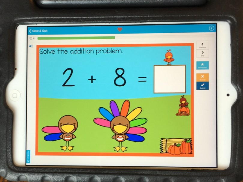 November math center - digital Thanksgiving addition to 10
