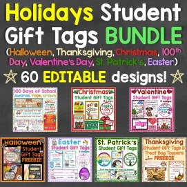 Holidays Student Gift Tags Bundle