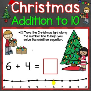 Christmas addition to 10 with Number Line