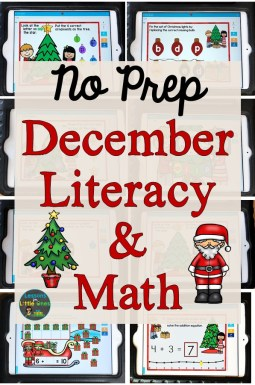 No Prep December, Christmas Literacy and Math Activities