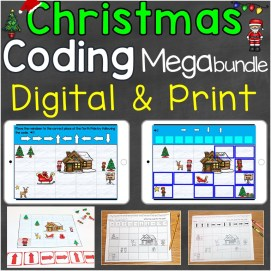 Coding Practice Print & Digital for Beginners Christmas Theme