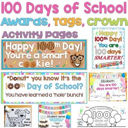 100th Day of School Awards, Treat Tags, Crown, Activity Pages Editable