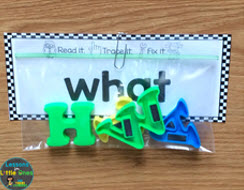 sight words magnetic letters center set-up