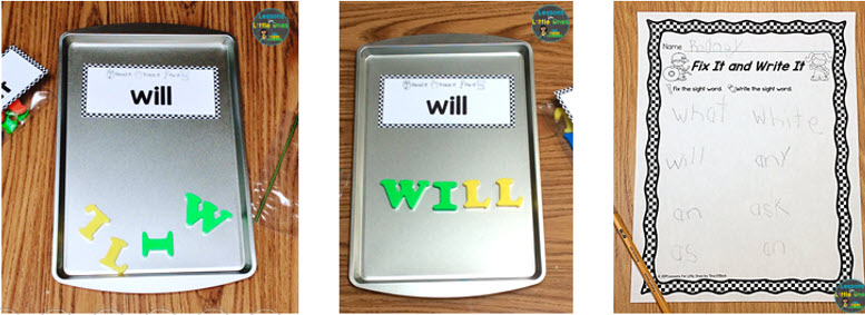 sight words magnetic letters center