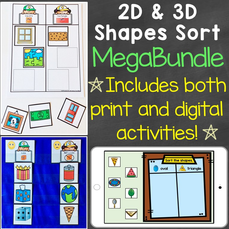 2D shapes 3D shapes sorting bundle digital print