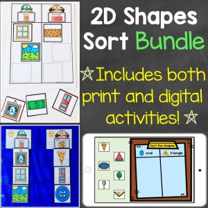 2D shapes sorting bundle digital print
