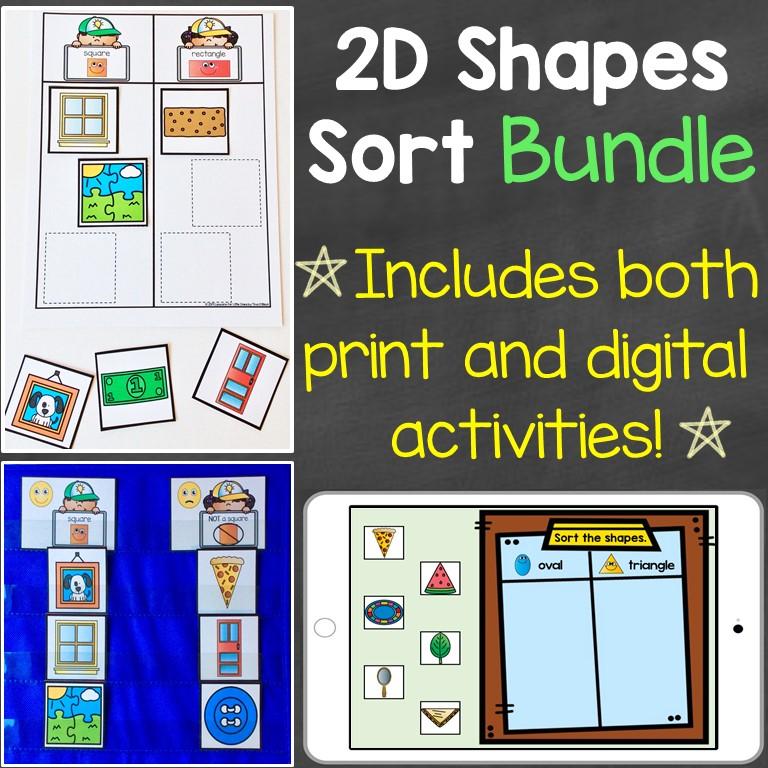 2D shapes sorting bundle digital print