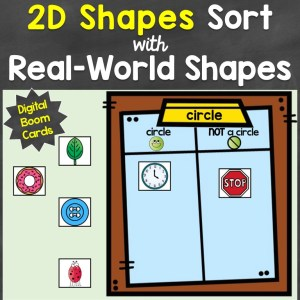 2D shapes sorting digital Boom Cards
