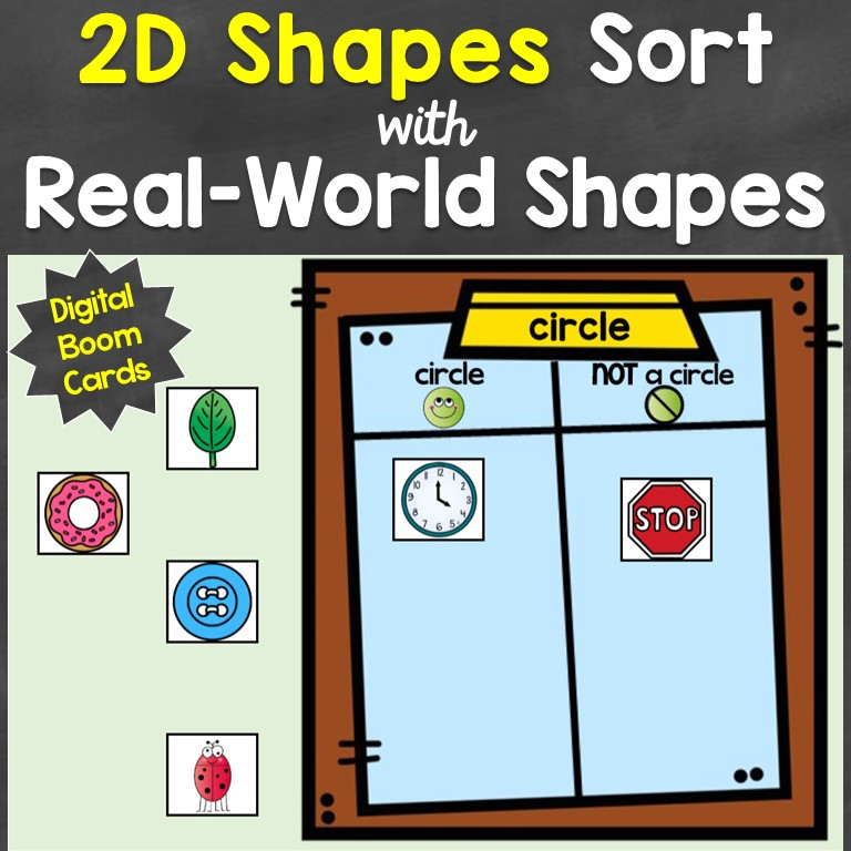 2D shapes sorting digital Boom Cards