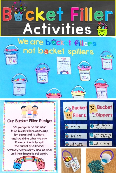 Bucket Filler Activities, Bulletin Board Idea, & Awards, Treats
