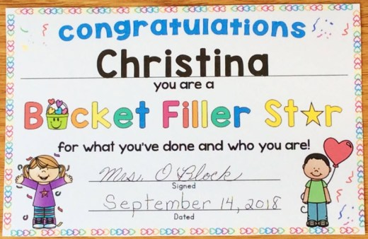 bucket filler star award