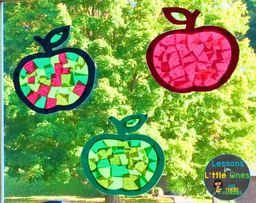 apple suncatchers craft on window