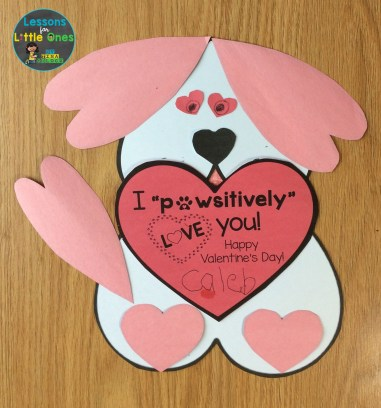heart dog valentine card from student to parent