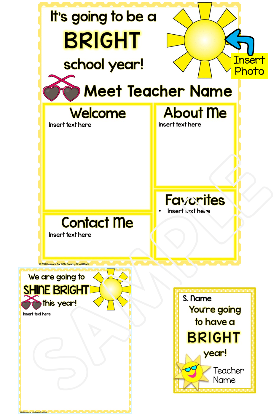 Meet the Teacher Editable Templates Sun Theme