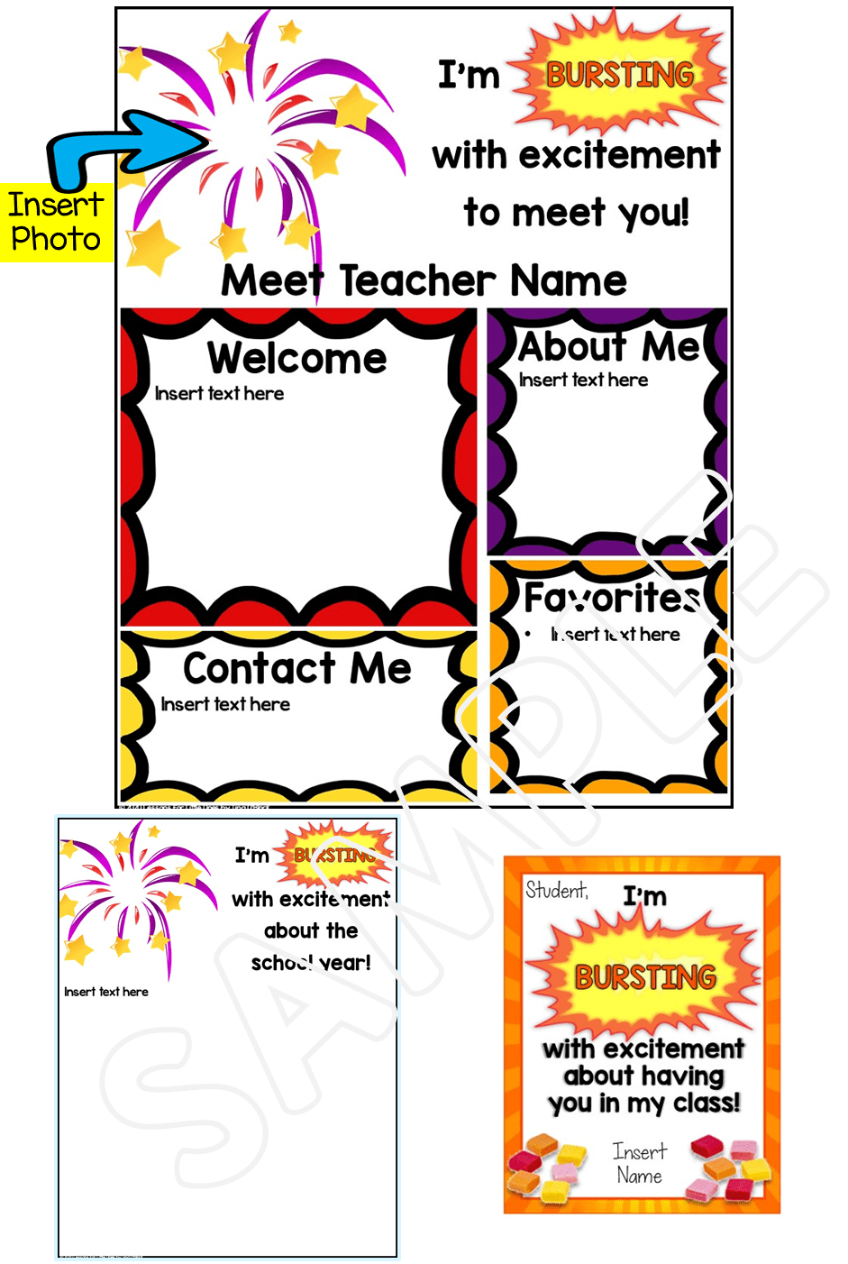 Meet the Teacher Editable Templates Fireworks Theme