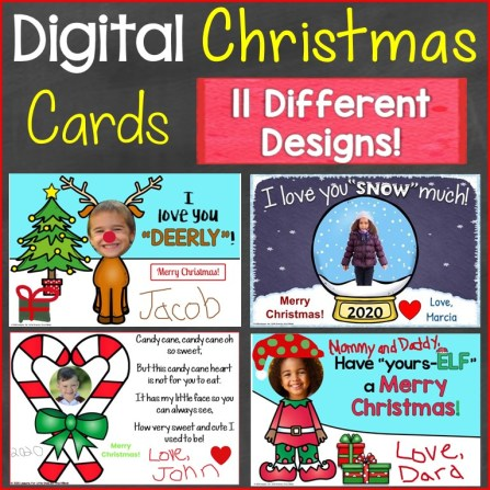 Christmas Cards for parents from students digital