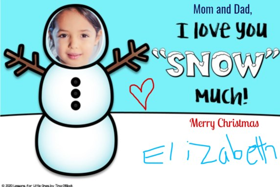 snowman digital Christmas card from students to parents
