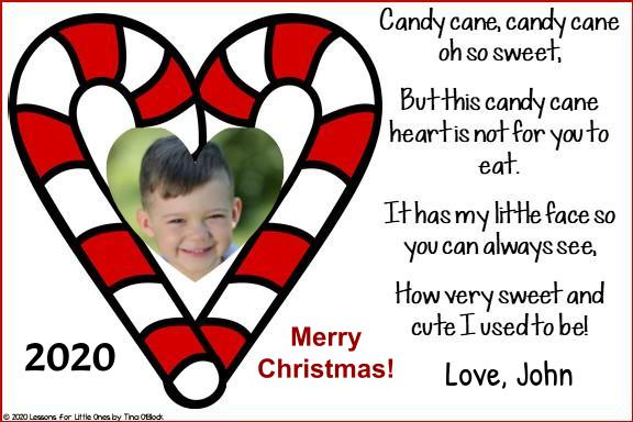 candy cane poem Christmas card