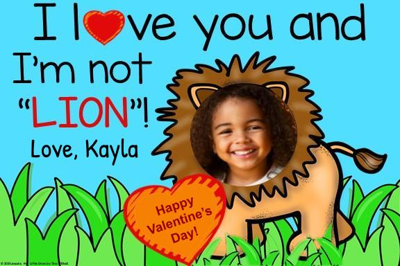 digital valentine lion card