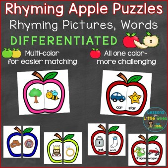 Rhymes Rhyming Words Apple Puzzles Differentiated