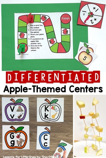 Differentiated Apple-Themed Centers Math Literacy Science