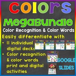 color recognition color words megabundle print and digital Google Slides activities