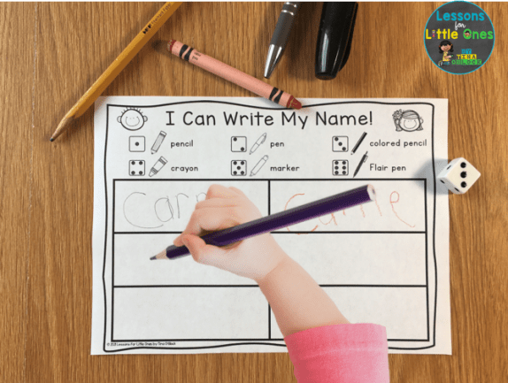 name writing activity page