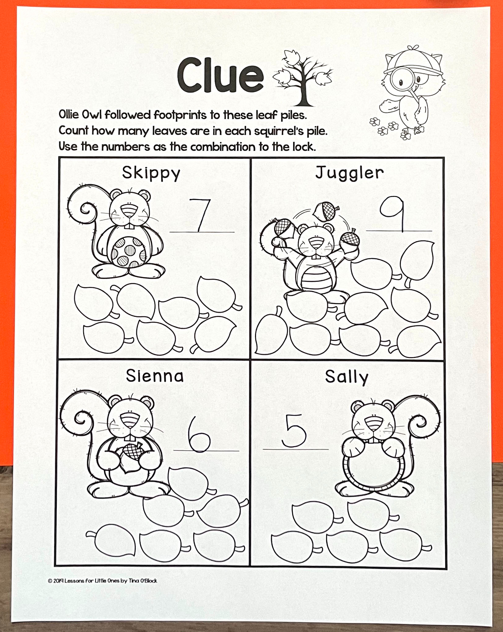 escape room clue page kindergarten first grade