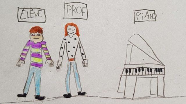 dessin le professeur de piano
