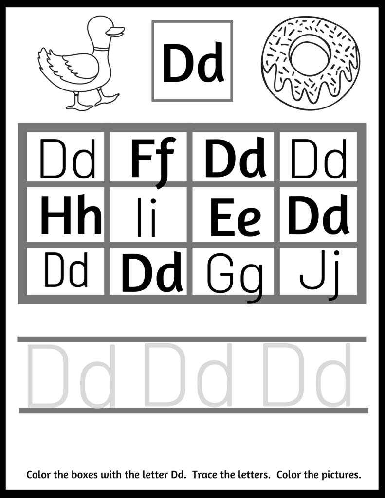letter D preschool worksheets