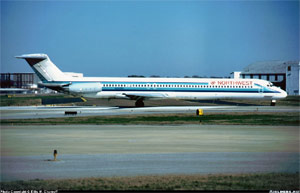 Photo of a Northwest DC-9-82 taxiing