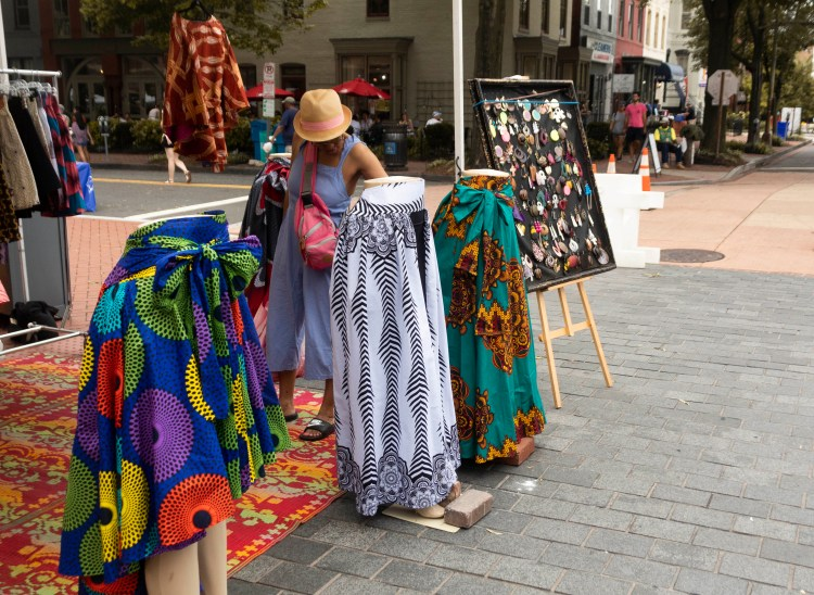 Skirts and earrings sold in the marketplace