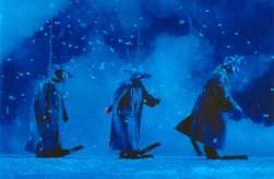 Slava Snowshow Green clowns in blue mist by Veronique Vial