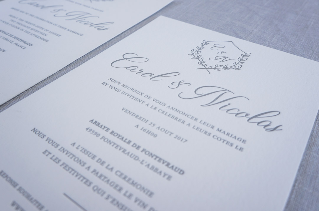 closeup of letterpress wedding invitations