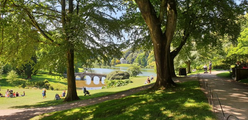 A view of Stourhead lake and gardens during the summer holiday