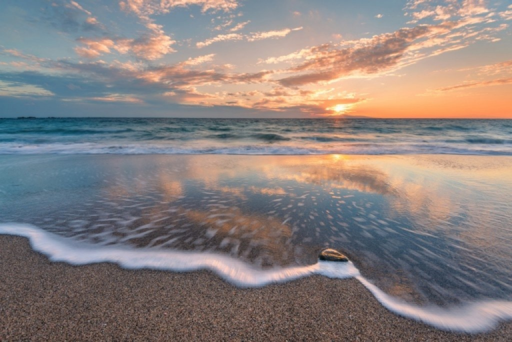 Beach Sunset In Japan
