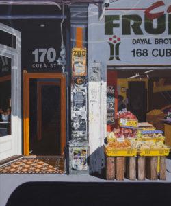 """Fruit shop shop on Cuba Street"". Acrylic on canvas 1000mm x 750mm"