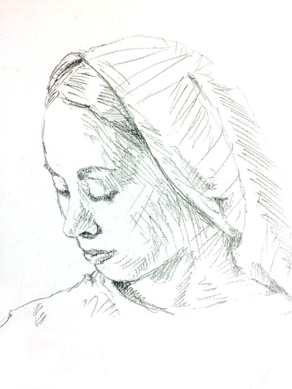 Mary and Child Painting Sketch of Mary