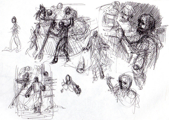 Peter Walking on the Water - Early Sketches