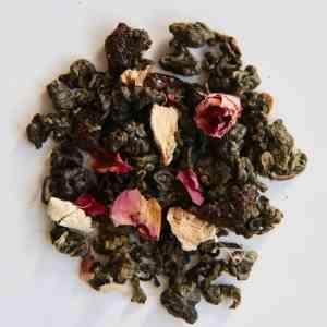 Thé bleu au goût de pêche, pastèque, rose et gingembre