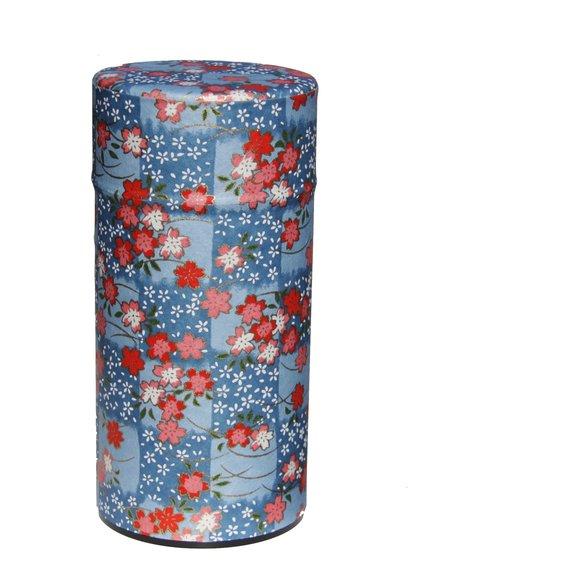 Boîte de conservation du thé en papier washi fleurs de cerisier sur fond bleu du Japon