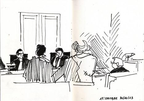 J.-M. Ribes : « L'annonce aux spectateurs avant le début du spectacle, c'était pour prévenir qu'on n'allait pas parler de Marilyn Monroe… » Le tribunal : « Quoique ça pourrait choquer aussi. » J. M. Ribes : « Vous avez raison, il y a peut-être aussi un Civitas pour Marilyn Monroe. » © Frédéric Chaume