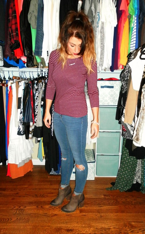 jcrew striped tee, asos ripped knee jeans, shoemint bailey booties