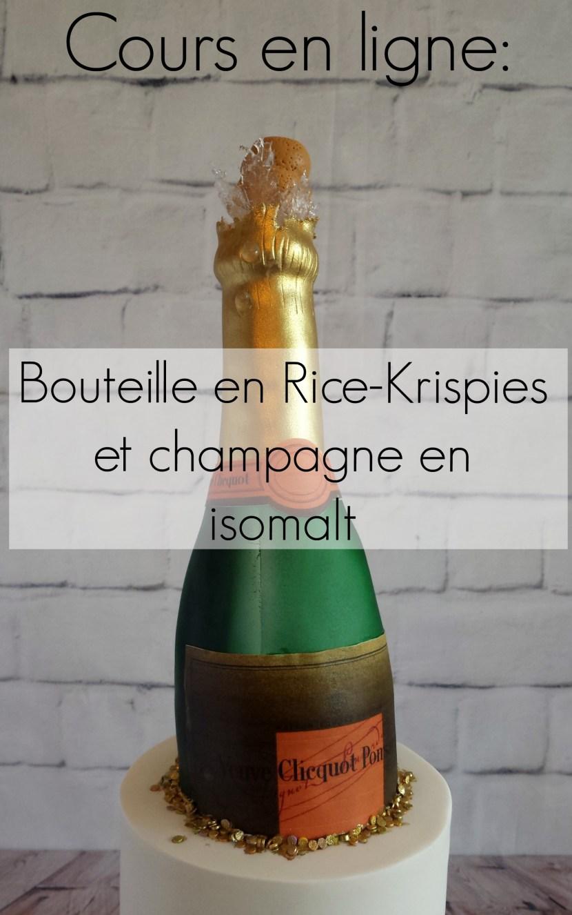 cours de cake design en ligne: Bouteille de champagne en rice krispies