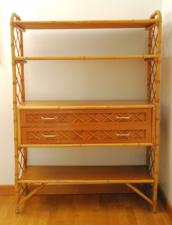 etagere en bois rotin bambou vintage